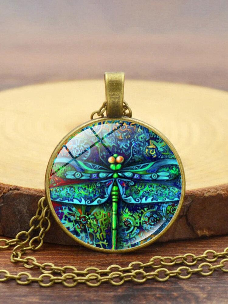 Vintage Dragonfly Women Necklace Spring Garden Glass Pendant Necklace