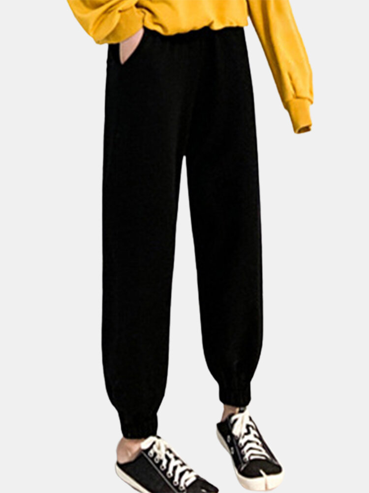 Solid Color Pockets Long Casual Pants for Women