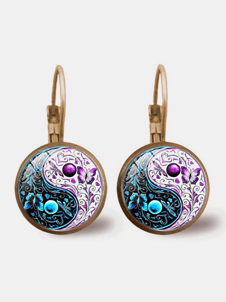 Vintage Glass Printed Women Earrings Yin Yang Two-Color Butterfly Pendant Earrings Jewelry Gift
