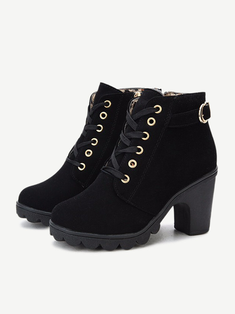 Women Casual Pu Side Zipper Lace Up Knight Boots