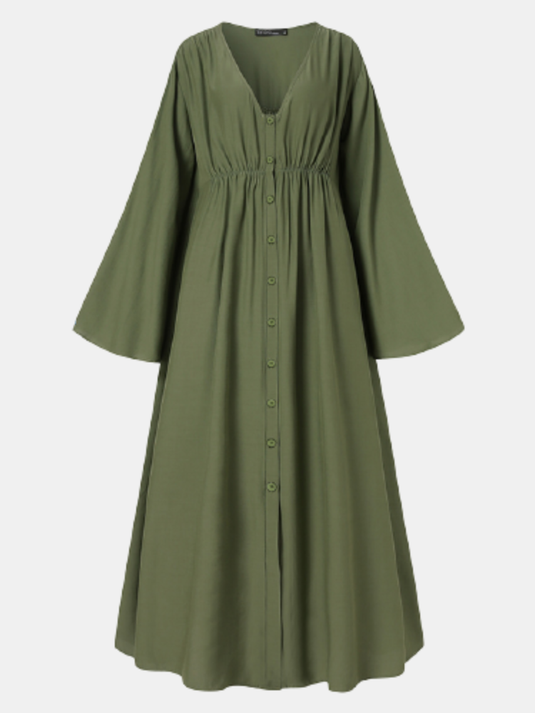 Solid Color Pleated Bell Sleeve V-neck Plus Size Button Dress for Women