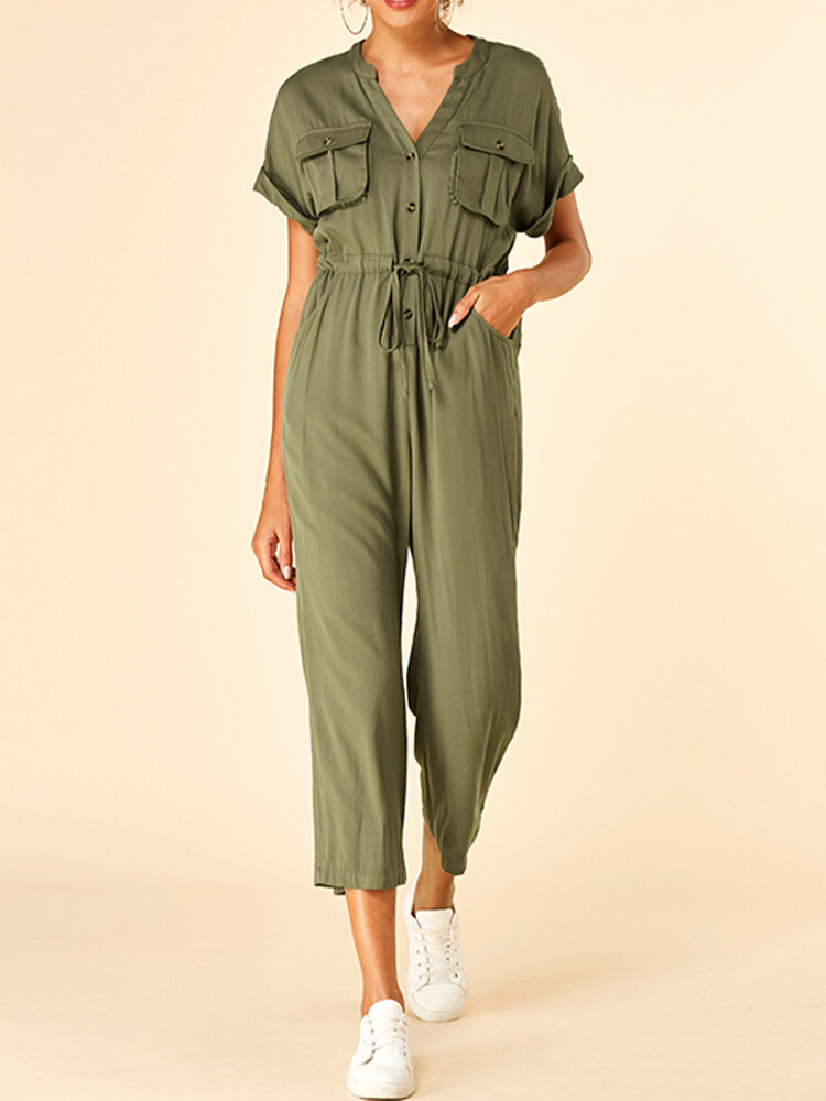 Solid Color Drawstring Button Pocket Short Sleeve Casual Jumpsuit for Women