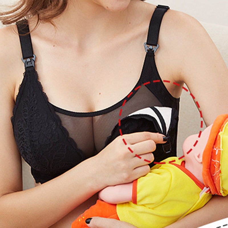 Soft Lace Maternity Gather Wireless Nursing Bra