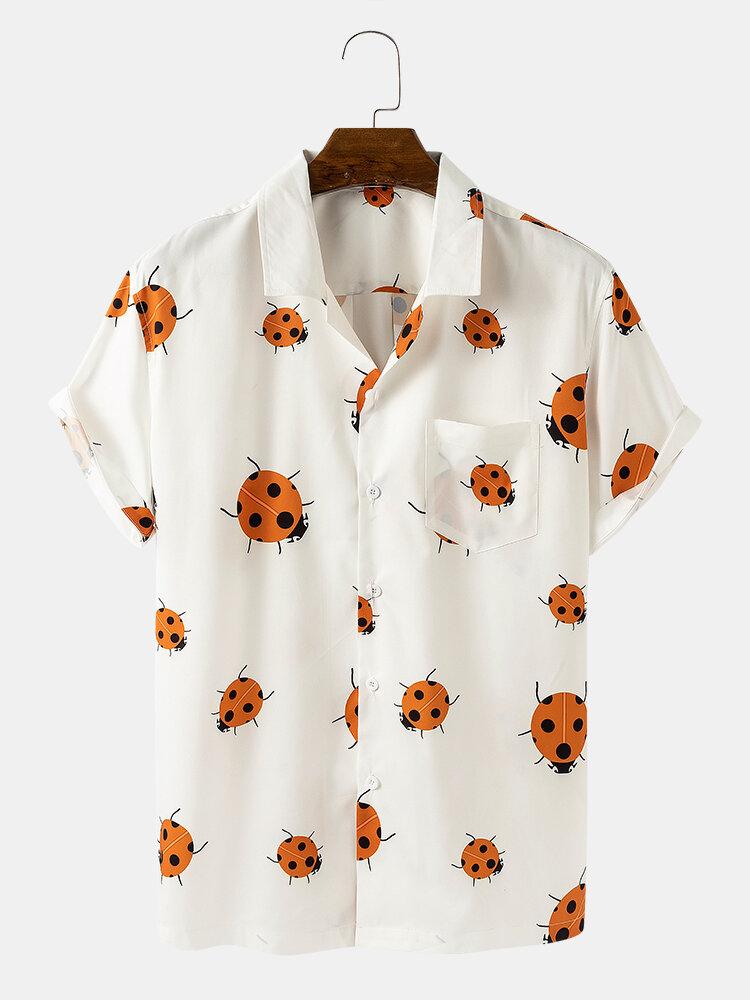رجل مضحك الخنفساء كارتون طباعة الصلبة اللون قمصان قصيرة الأكمام