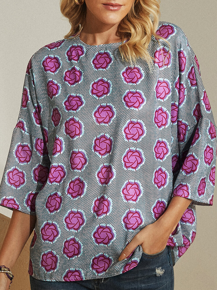Vintage Flower Printed O-neck Casual Blouse For Women