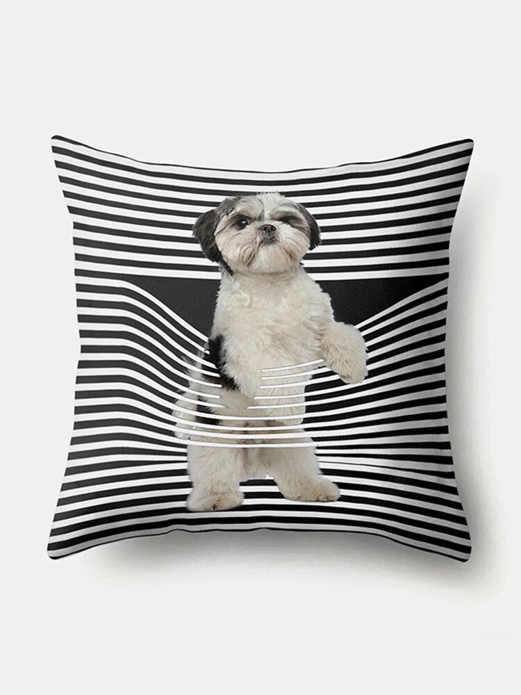 Stripe Pattern Dog Linen Cushion Cover Home Sofa Art Decor Throw Pillowcase