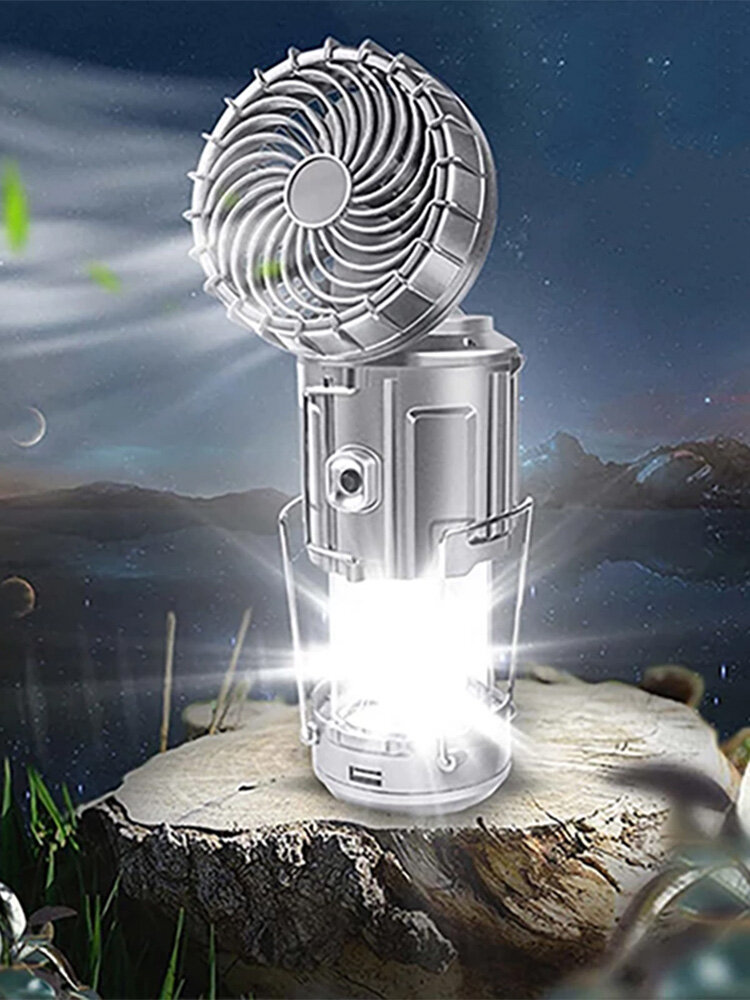 1 PC Multi-functional Solar Energy Dry Battery Power Portable Stretching Hidden Camping Outdoor Hanging Tent Light With Electric Fan
