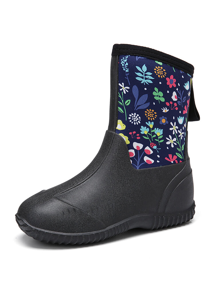 SOCOFY Natural Rubber Floral Waterproof Non-slip Pull-on Flat Rain Boots Garden Working Shoes