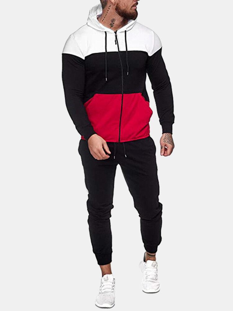 メンズトリコロールパッチワークジッパーフード付きツーピース巾着ジョガーパンツスポーツセット