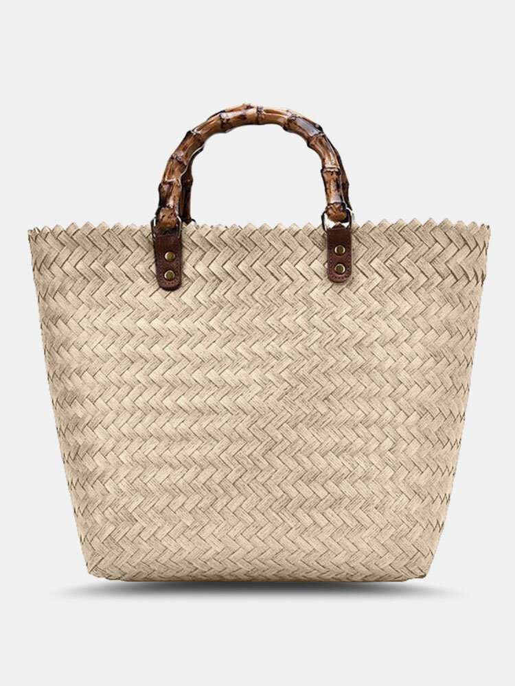 Classic Wooden Handle Straw Bag
