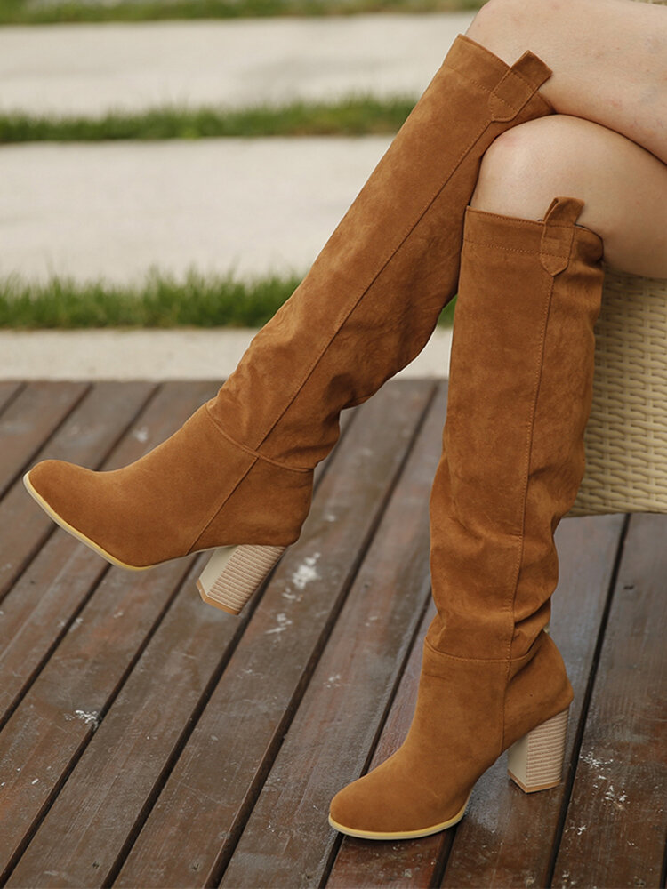 Women Slip On Solid Color Simple Elegant Casual Knee High Boots