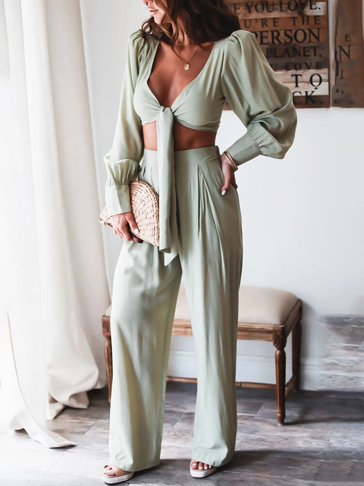 Holiday Solid Knotted Long Sleeve Crop Top & Pants Sexy Suit