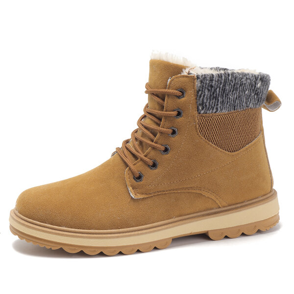 Men High Top Warm Plus Lining Work Ankle Boots