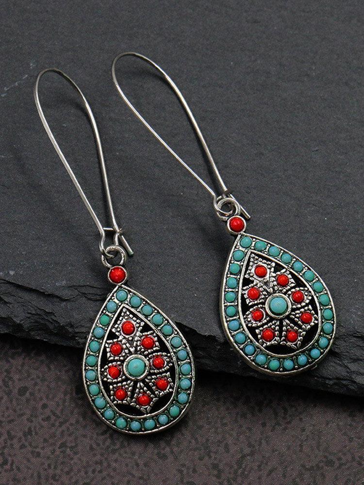 Ethnic Geometric Water Drop Long Earrings Metal Beads Pendant Tassel Earrings Vintage Jewelry
