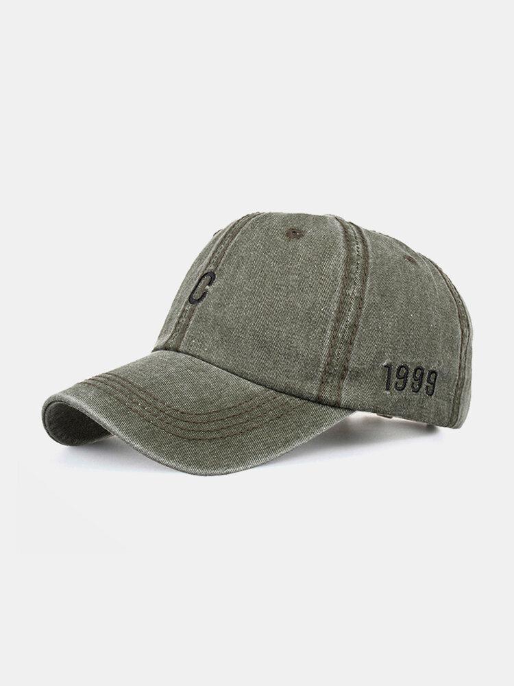Men Washed Cotton Letter Pattern Baseball Cap Outdoor Sunshade Adjustable Hat