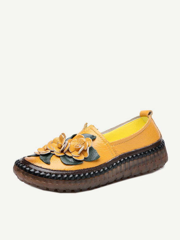 Women Casual Folkways Soft Cow Leather Flowers Flat Shoes