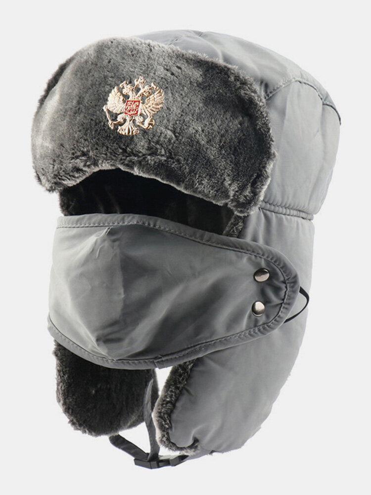 男性防寒冬用トラッパーハットマスクトラッパーハット付き厚手の冬用ハット耳栓