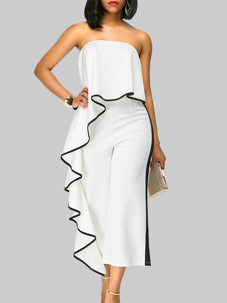 Sexy Flouncing Strapless Wide Leg Jumpsuits For Women