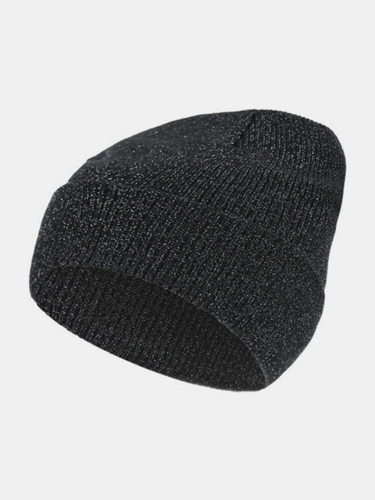 Women Men Winter Star Knitting Ski Hat  Outdoor Warm Retro Cuffed Acrylic Beanie Hat