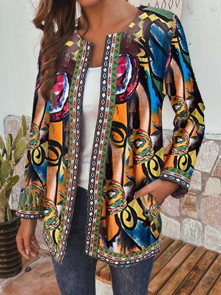 Vintage Ethnic Webbing Plus Size Jackets with Pockets