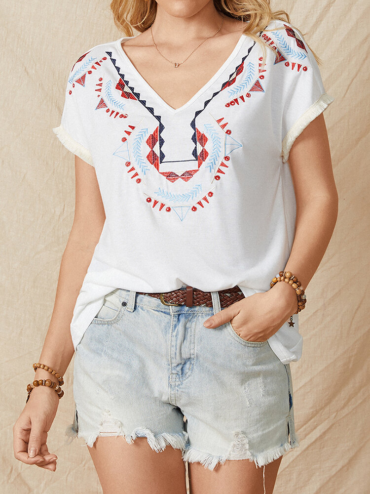 Embroidered V-neck Short Sleeve Casual T-Shirt For Women