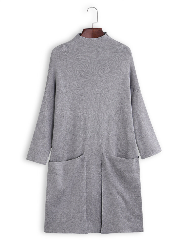 Turtleneck Solid Color Long Sleeve Casual Dress With Big Pockets