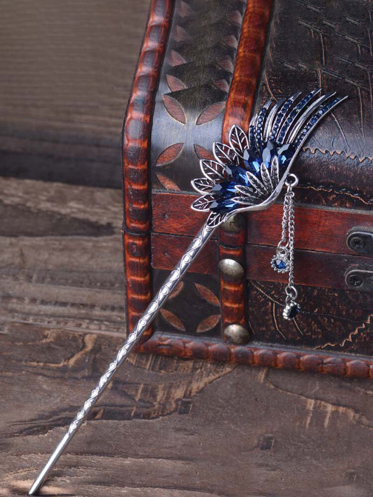民族のユニークな女性のヘアアクセサリーヴィンテージ葉翼ラインストーンクリスタルタッセルドロップヘアピン