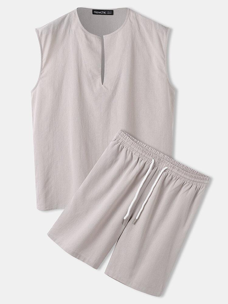 メンズ100%コットングレーラウンジウェアディープネックタンクトップ&ドローストリングショーツパジャマセット