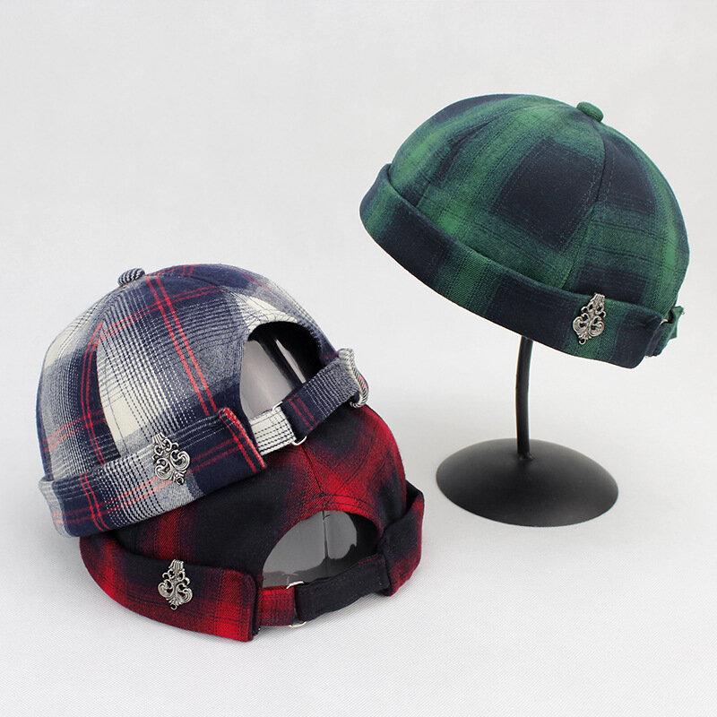 7633e4f5 Mens Lattice Adjustable Solid French Cotton Bucket Cap Retro Vogue ...