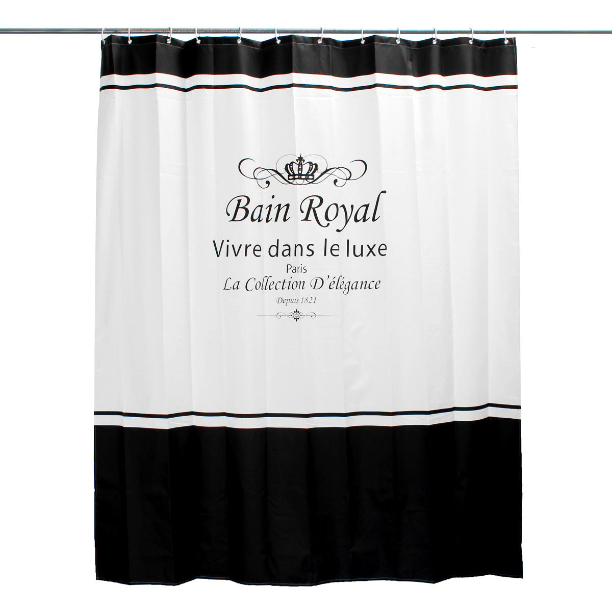 Waterproof and Anti-Mould Royal Crown Bathroom Shower Curtain with 12 Hooks