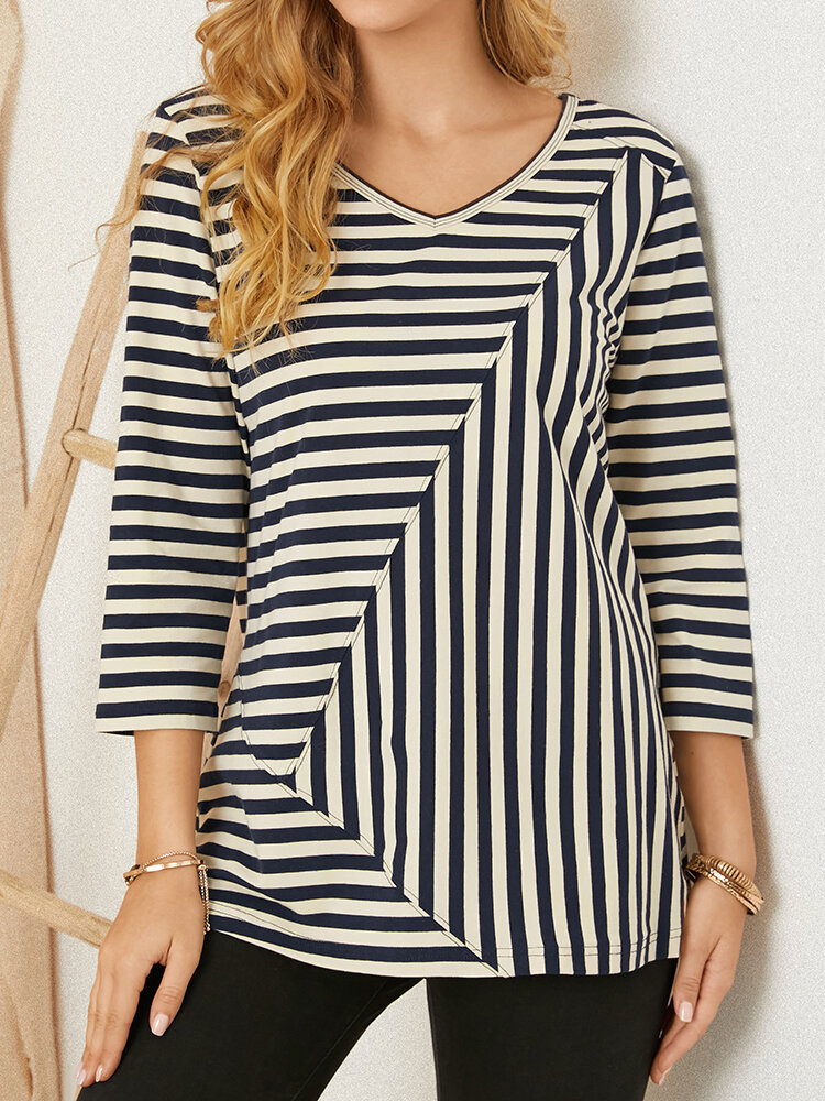 Striped Print Patchwork O-neck Long Sleeve Casual Cotton T-Shirt for Women