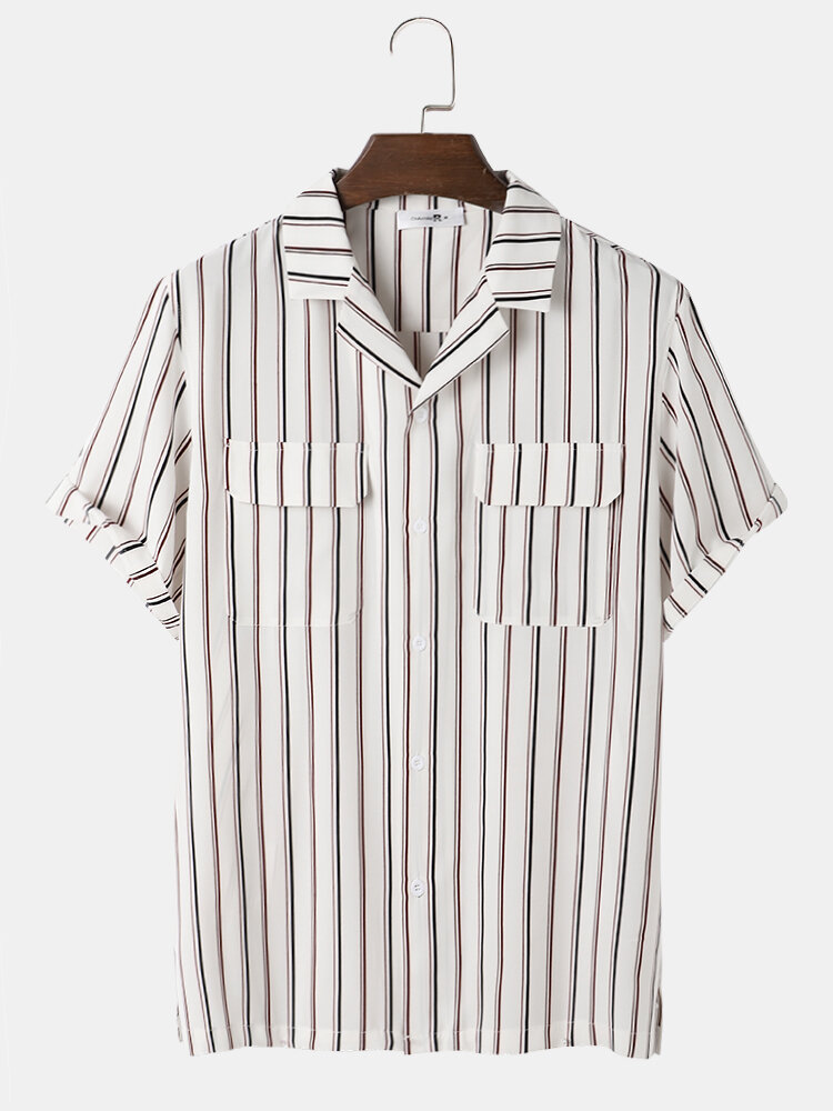Mens Stripe Double Flap Pocket Revere Collar Casual Business Short Sleeve Shirts