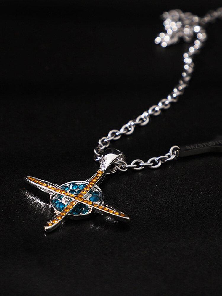 Vintage Hiphop Stainless Steel Design Diamond Universe Planet Necklace