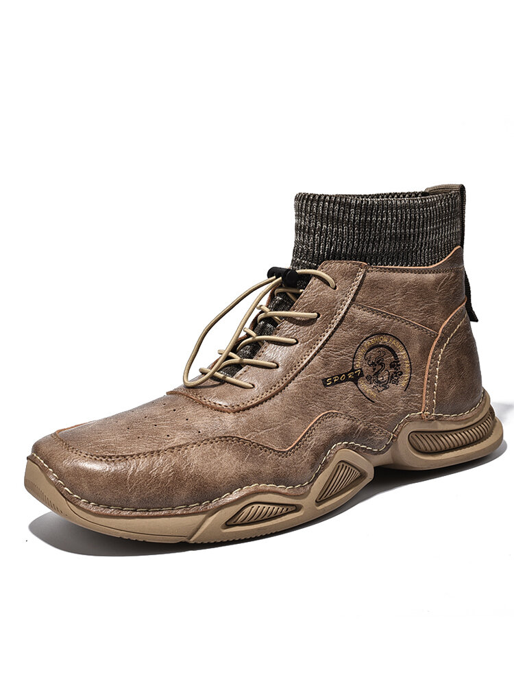 Men Vintage Hand Stitching Comfy Leather Ankle Elastic Sock Boots