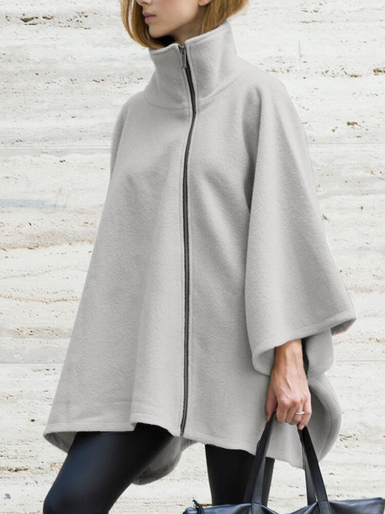 Solid Color High Neck Long Sleeve Loose Casual Coat For Women