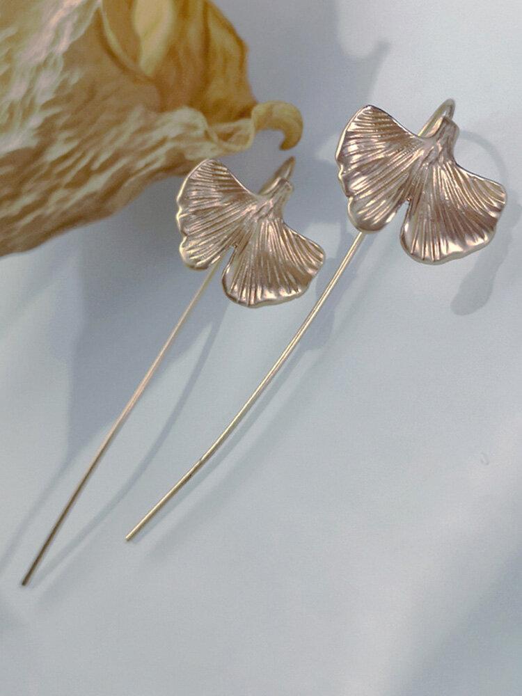 Bohemian 18k Gold Plated Ginkgo Leaf Pendant Women Earring