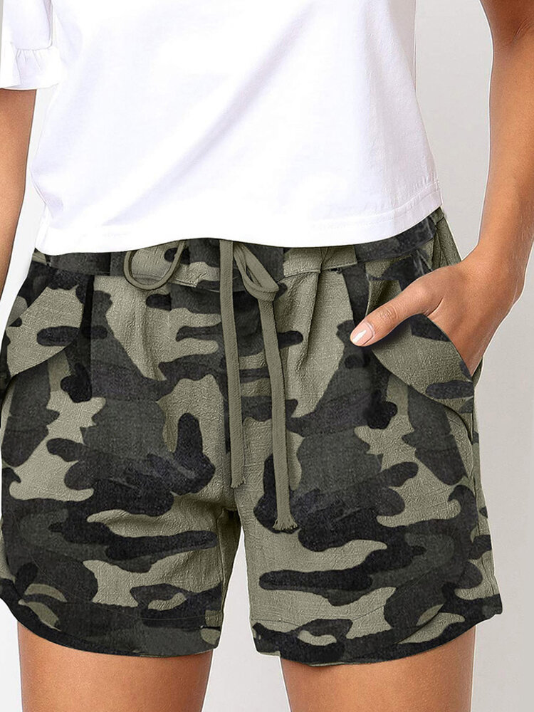 Camou Print Drawstring Elastic Practical Sport Casual Shorts With Pocket
