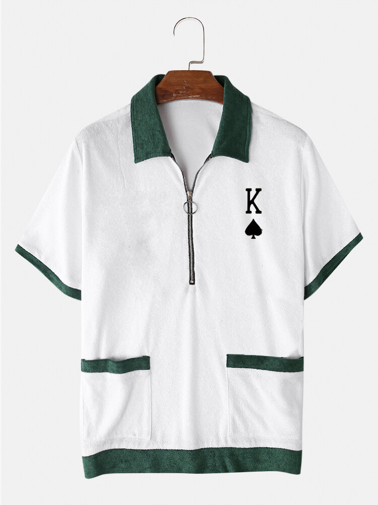 Mens Poker K Embroidered Zip Contrast Short Sleeve Towelling Golf Shirts