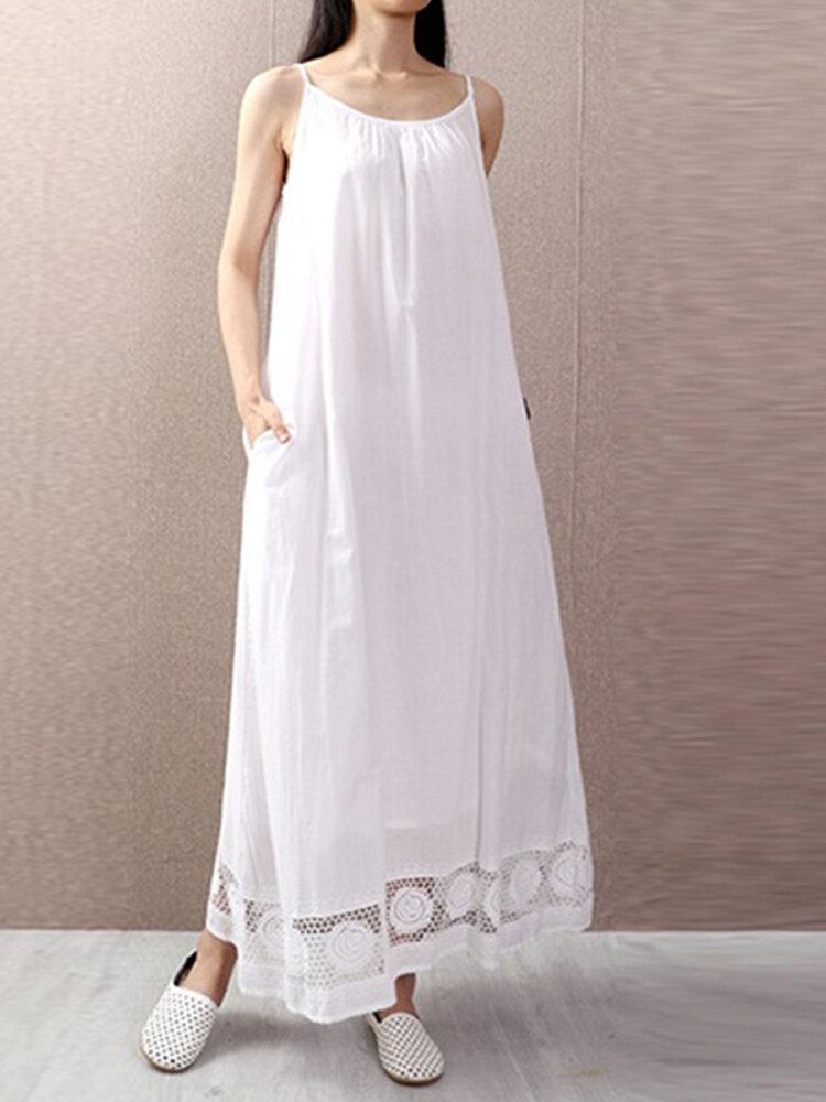 Lace Patchwork Spaghetti Straps Plus Size Summer Dress