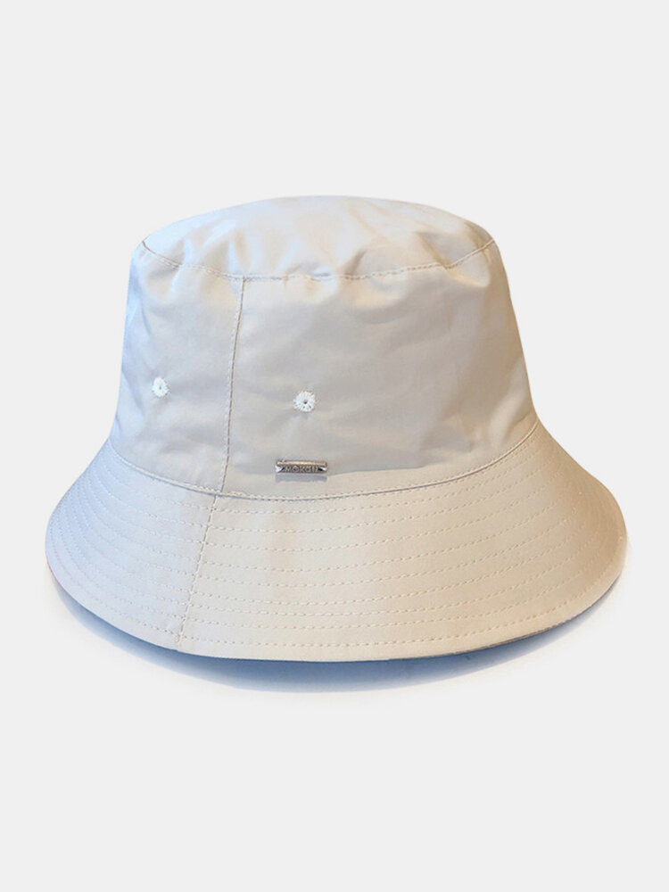 Unisex Nylon Waterproof Quick-drying Double-sided Wearable Solid Color Camouflage Bucket Hat