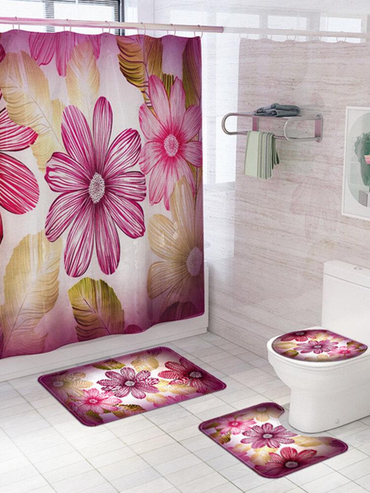 Fresh And Beautiful Flower Shower Curtain Mat Four-Piece Bathroom Mat Set Bathroom Creative Shower Curtain