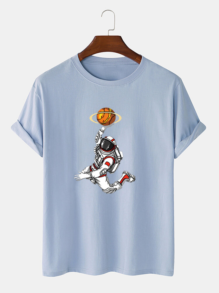 Mens 100% Cotton Cartoon Playing Basketball Astronaut Print Loose Light T-Shirts