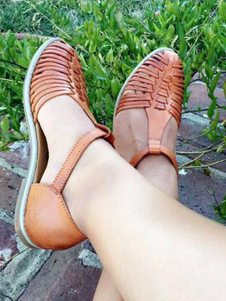 Large Size Women Roman Woven Hollow Closed Toe Buckle Flat Gladiator Sandals