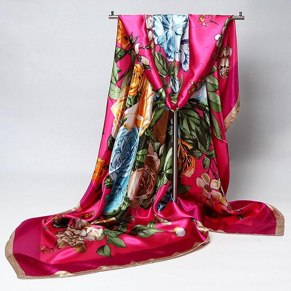 90*90cm Women Ladies Flower Floral Printed Multifunctional Satin Square Headband Scarf Shawls