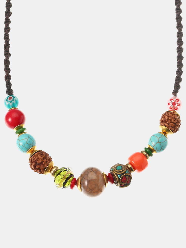 Women's Ethnic Necklace Crystal Turquoise Bell Rope Necklace