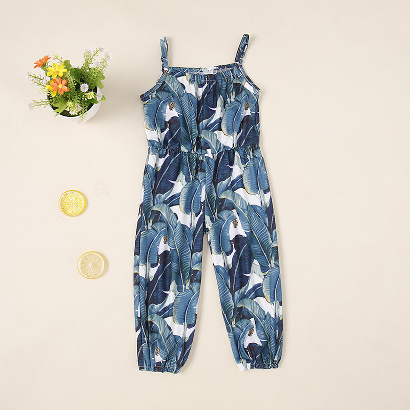 Leaf Print Girls Sleeveless Strap Jumpsuit For 1-7Years
