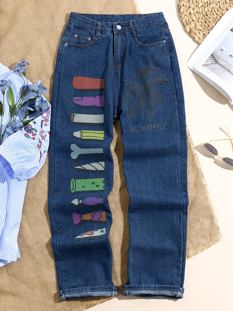 Cartoon and Letters Graffiti Print Stylish Pocket Jeans for Women
