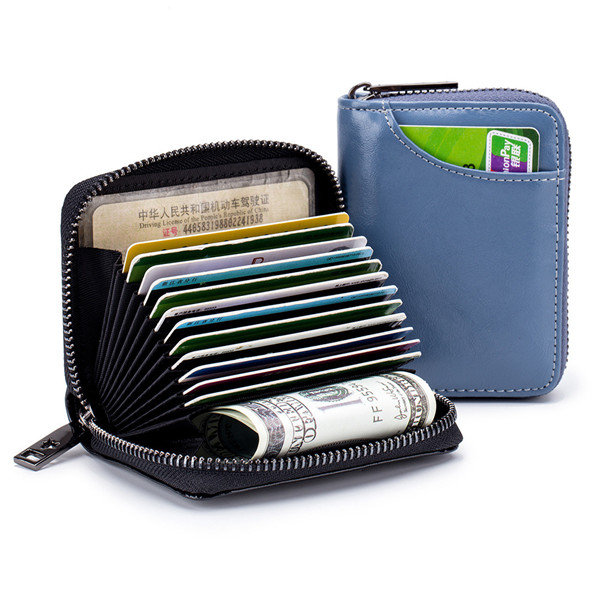RFID Women Genuine Leather 12 Card Slot Wallet Casual Coin Purse