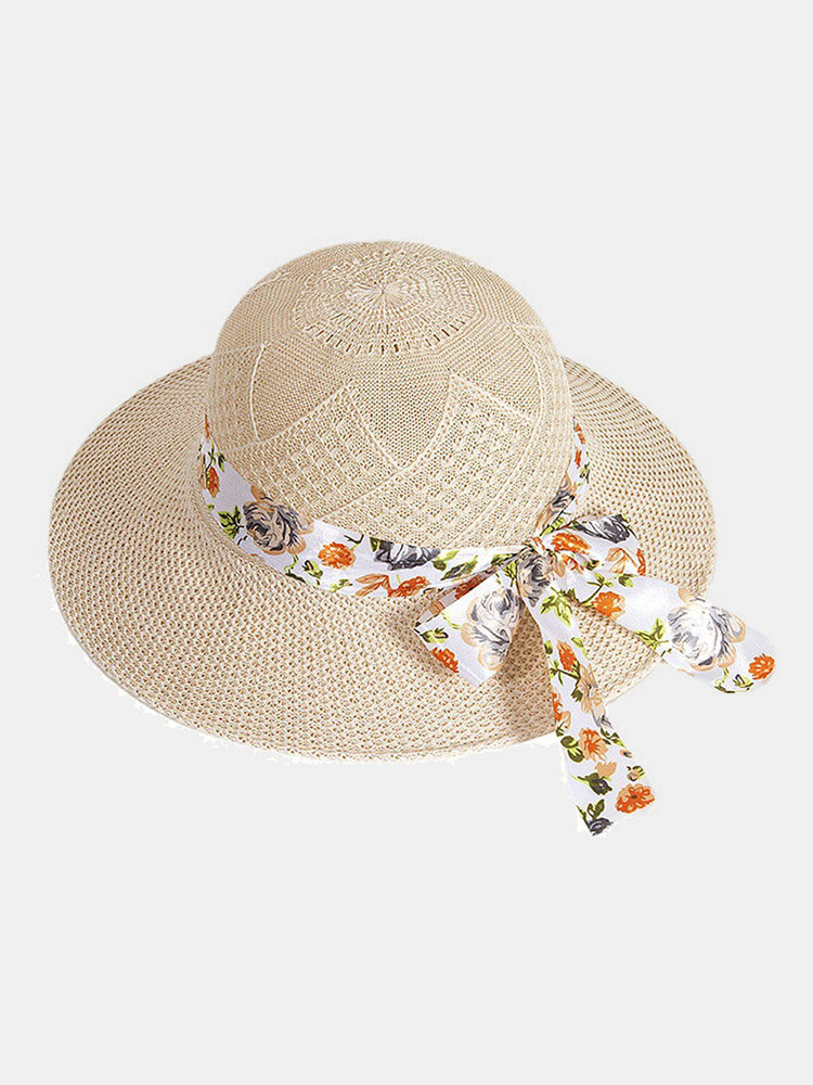 Women Dacron Floral Pattern Bandage Big Brim Sunscreen Breathable Woven Straw Hat