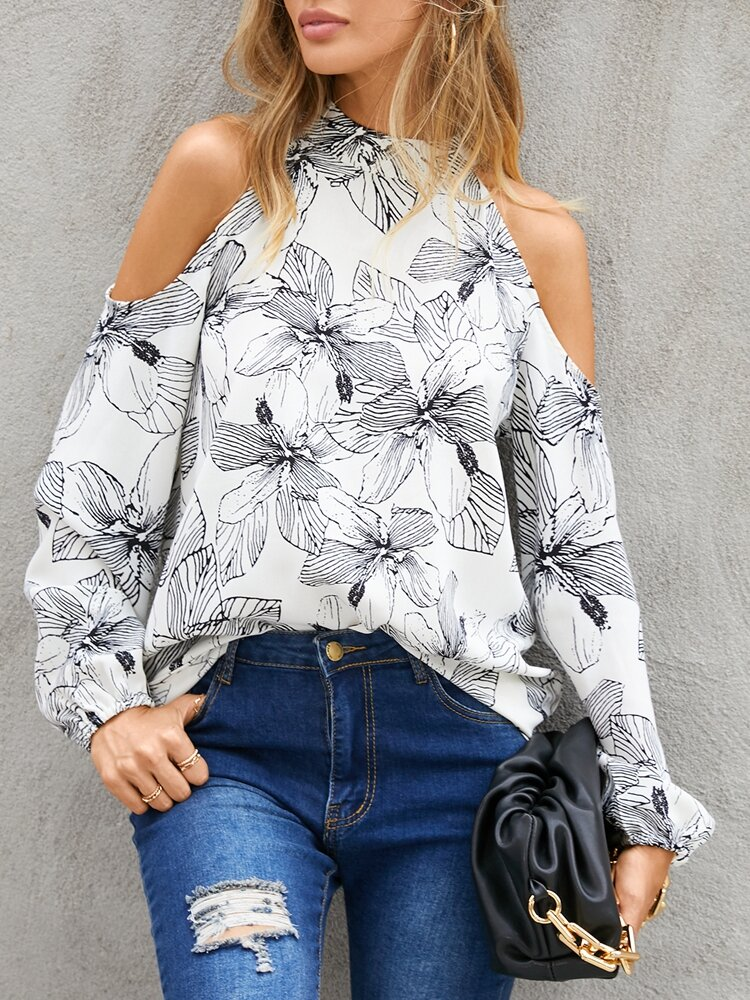Women Calico Print Off Shoulder Long Sleeve Casual Blouse